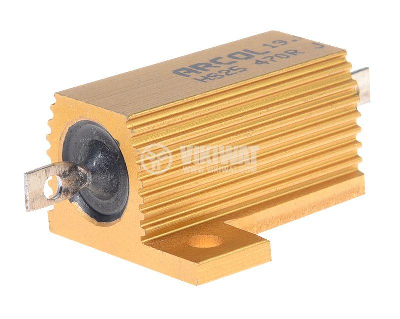 Резистор HS25-470RJ 470Ohm 25W ±5% жичен с радиатор - 1
