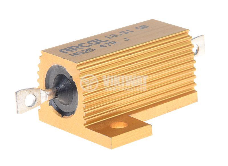 Резистор HS25-47RJ 47Ohm 25W ±5% жичен с радиатор - 1