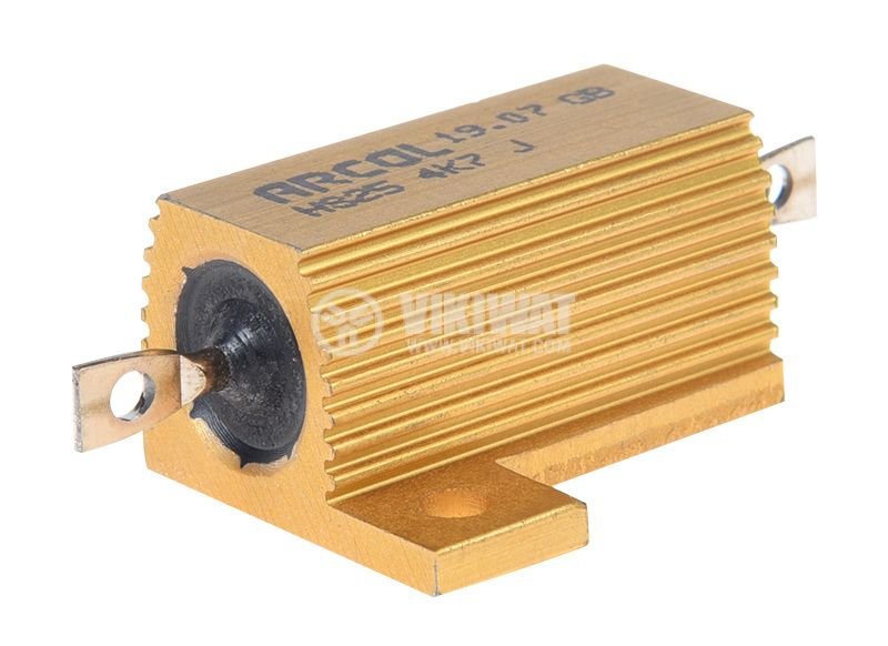 Резистор HS25-4K7J 4.7kOhm 25W ±5% жичен с радиатор - 1