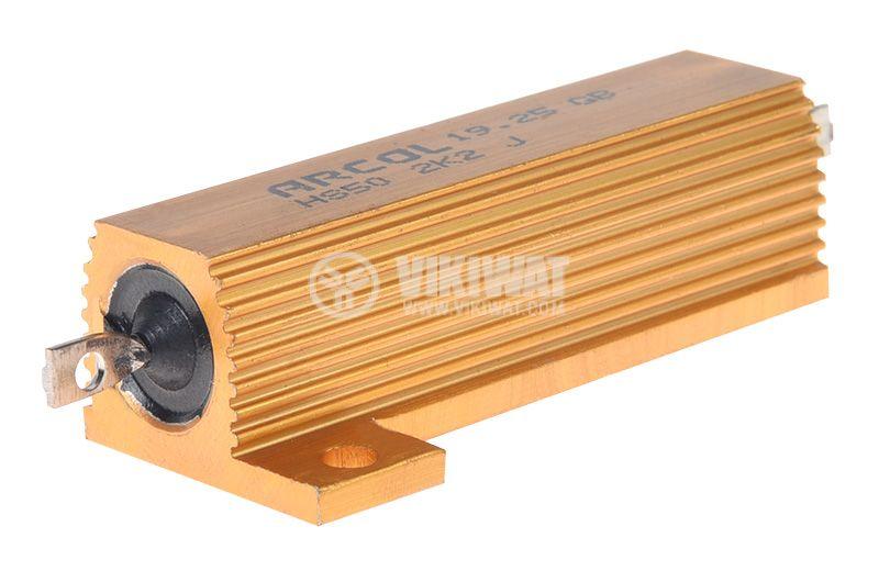 Резистор HS50-2K2J 2.2kOhm 50W ±5% жичен с радиатор - 1