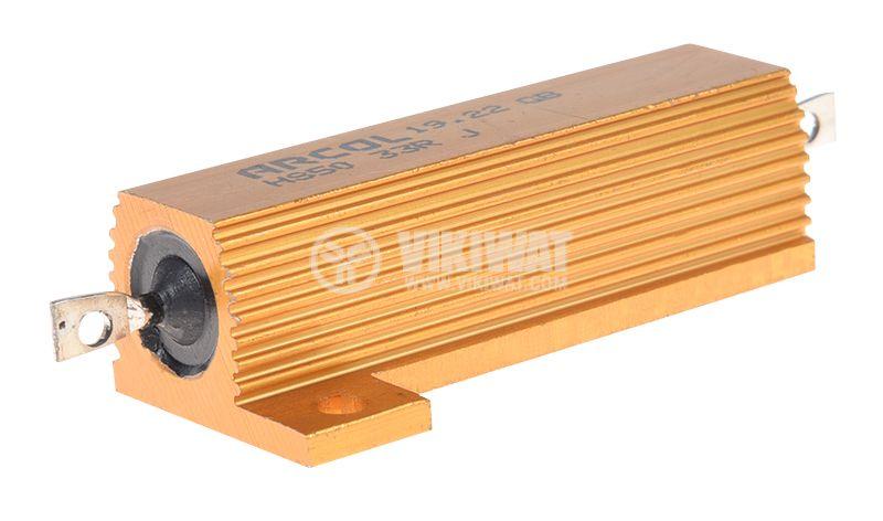 Резистор HS50-33RJ 33Ohm 50W ±5% жичен с радиатор - 1