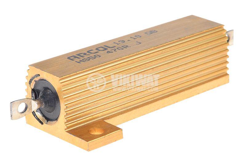 Резистор HS50-470RJ 470Ohm 50W ±5% жичен с радиатор - 1