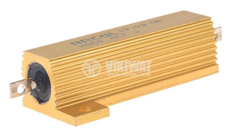 Резистор HS50-4K7J 4.7kOhm 50W ±5% жичен с радиатор - 1
