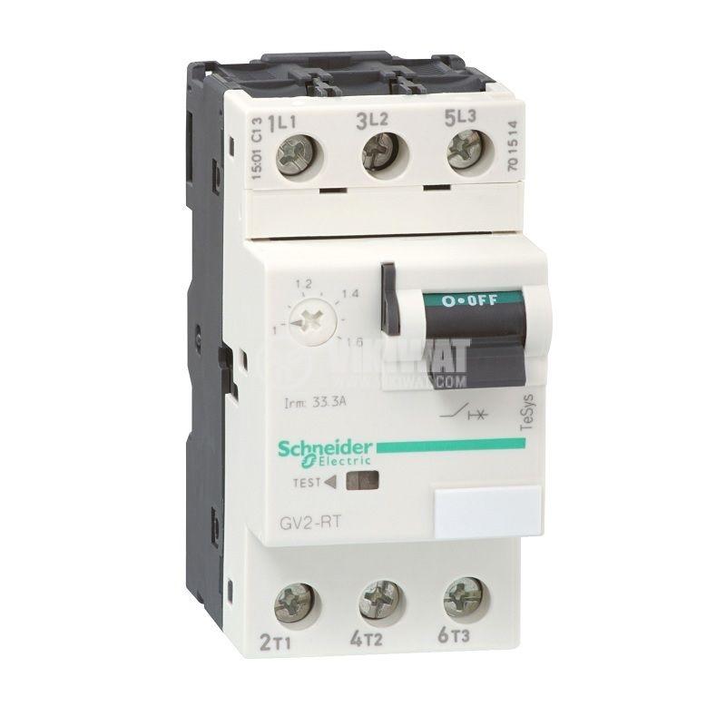 Моторна термично-токова защита GV2RT10, трифазна, 4~6.4A, 230~690VAC