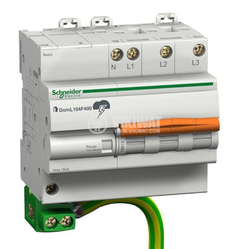 Катоден отводител 3P+N, 230VAC, 10kA, Domae Quick 16613, DIN