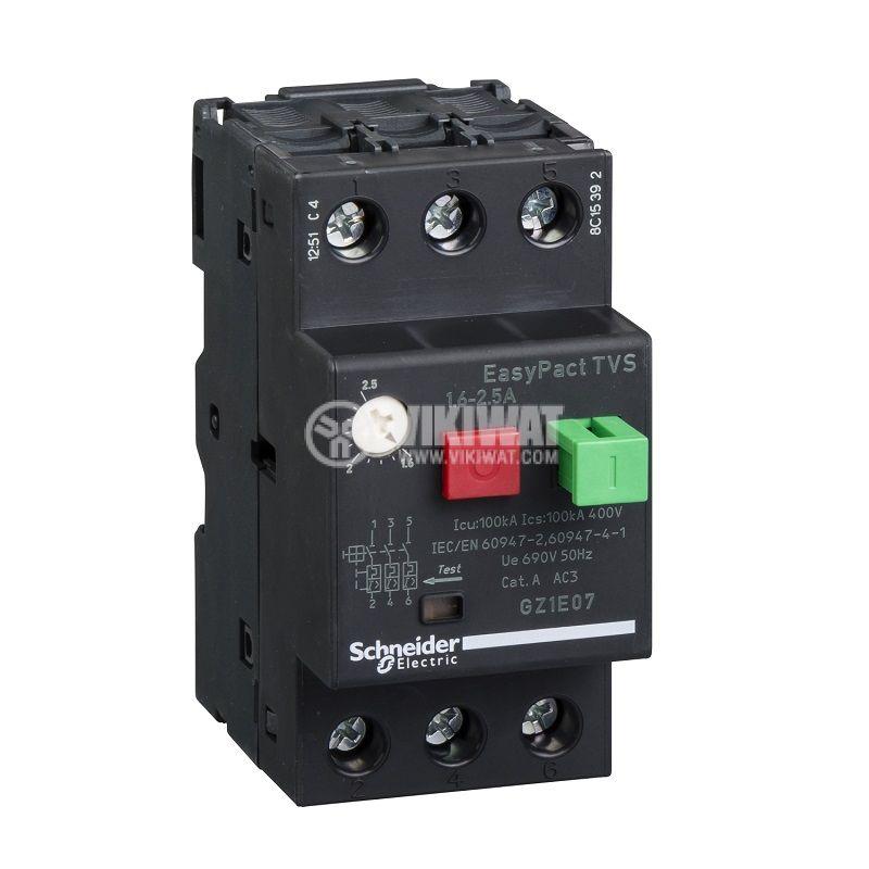 Моторна термично-магнитна защита GZ1Е07, трифазна, 1.6~2.5A, 230~690VAC
