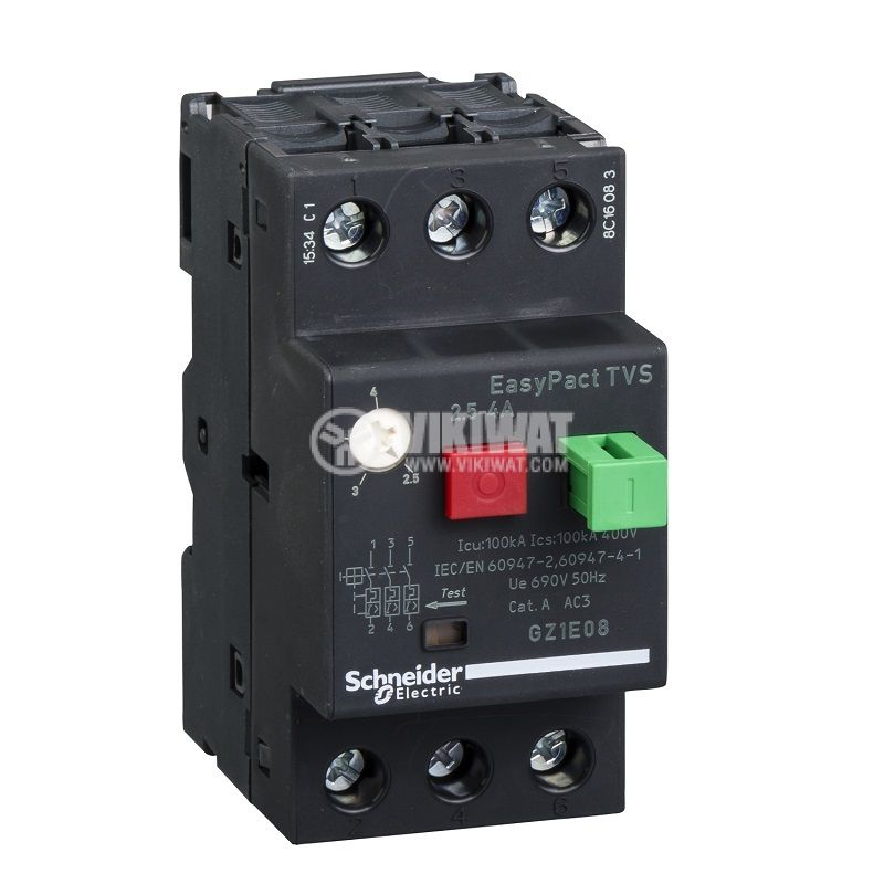 Моторна термично-магнитна защита GZ1Е08 трифазна 2.5~4A 230~690V