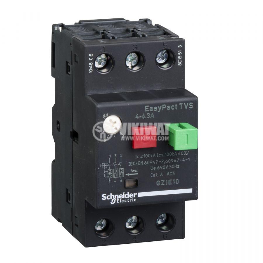 Моторна термично-магнитна защита GZ1Е10 трифазна 4~6.3A 230~690V