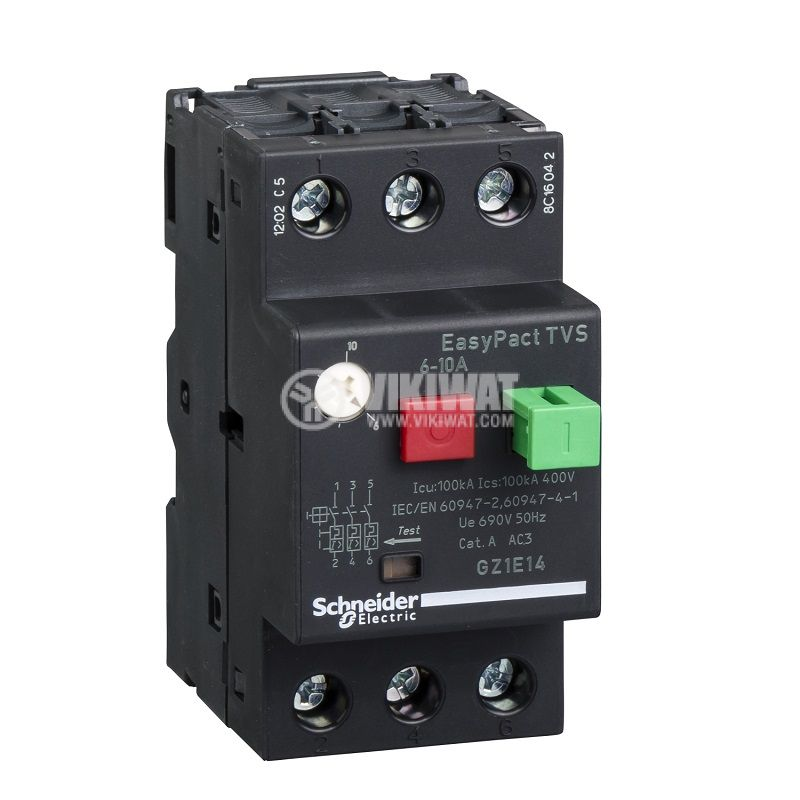 Моторна термично-магнитна защита GZ1Е14, трифазна, 6~10A, 230~690VAC