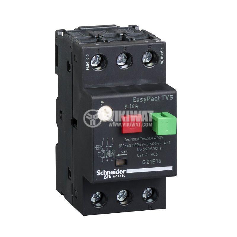 Моторна термично-магнитна защита GZ1Е16, трифазна, 10~14A, 230~690VAC