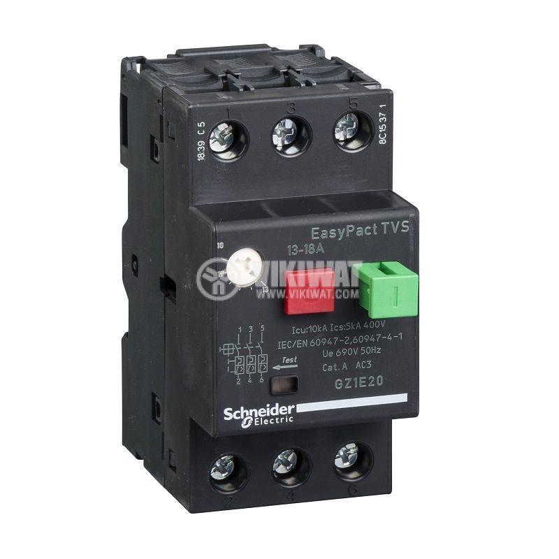Моторна термично-магнитна защита GZ1Е20, трифазна, 13~18A, 230~690VAC