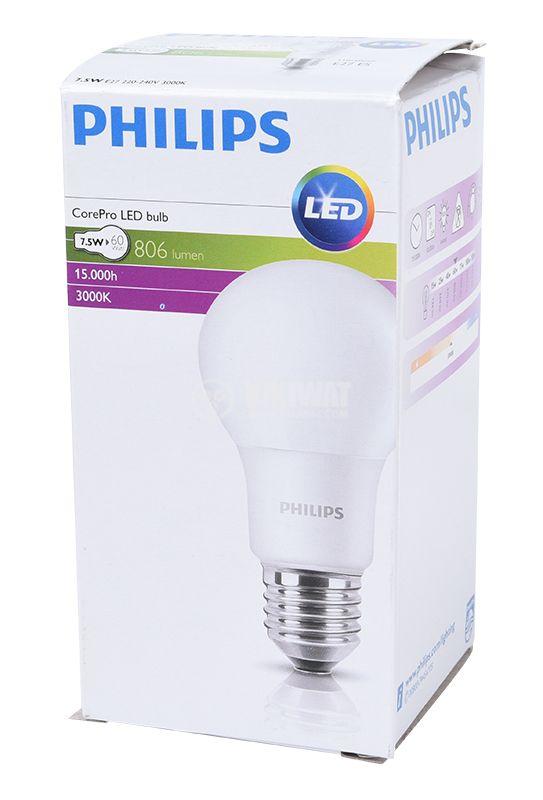 LED лампа CorePro LED bulb, 7.5W, E27, 220VAC, 806lm, 3000K, топлo бяла - 2