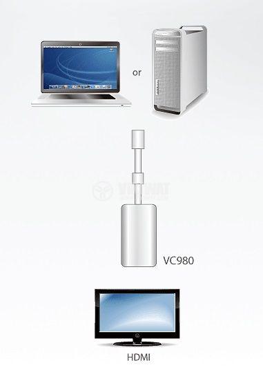 Adapter mini DP/M - HDMI/F, FullHD - 4