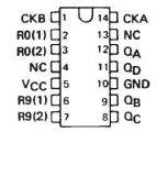 Интегрална схема 74LS90, TTL серия LS, DIVIDE-BY-TWELVE AND BINARY COUNTERS, DIP14 - 2