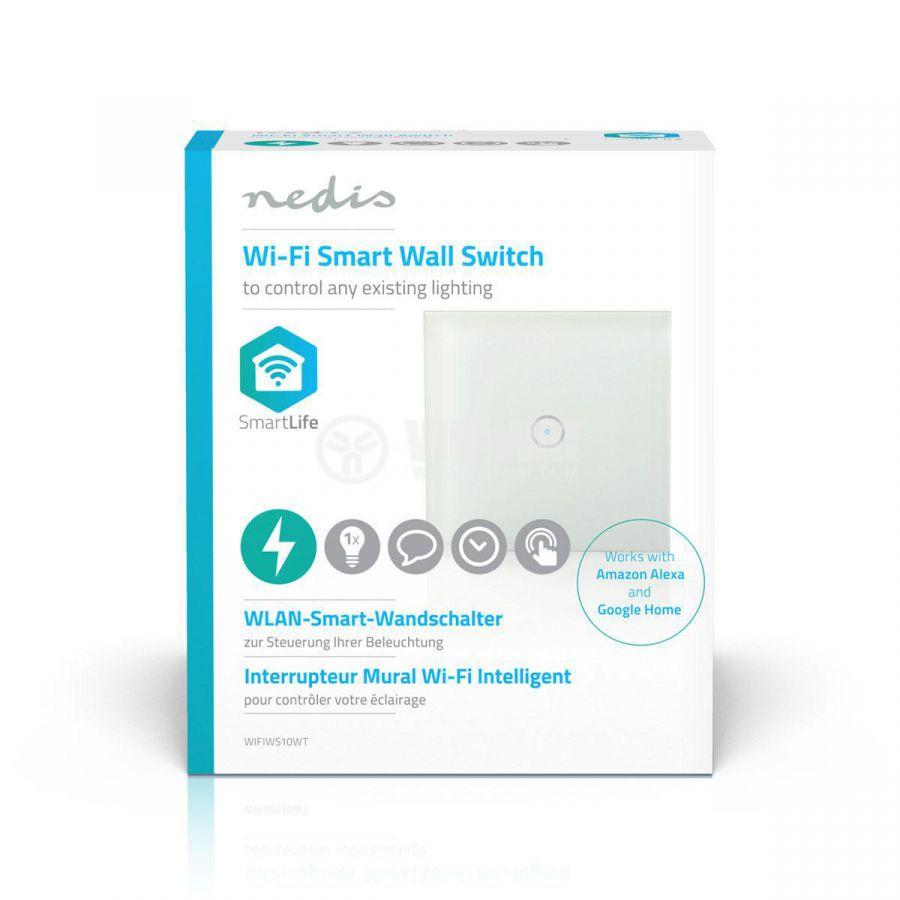Wi-Fi Smart единичен ключ за контрол на осветление сх.1 2A 230V бял WIFIWS10WT - 5