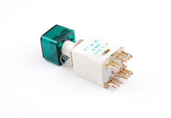 Миниатюрен превключвател , мрежов бутон  RFT-0378, 230 VAC ,0.5 A, задържащ, светещ