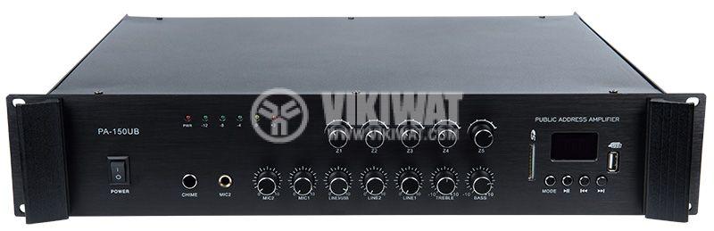 Усилвател за фоново озвучаване PA-150UB 150W 100V USB SD карта Bluetooth FM радио - 1
