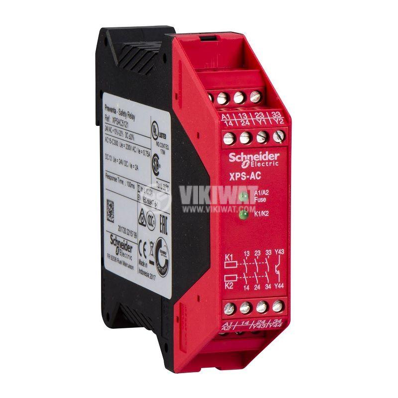 Модул за безопасност XPSAC5121, 24VAC, 24VDC, 3xNO, 1 транзисторен, IP20