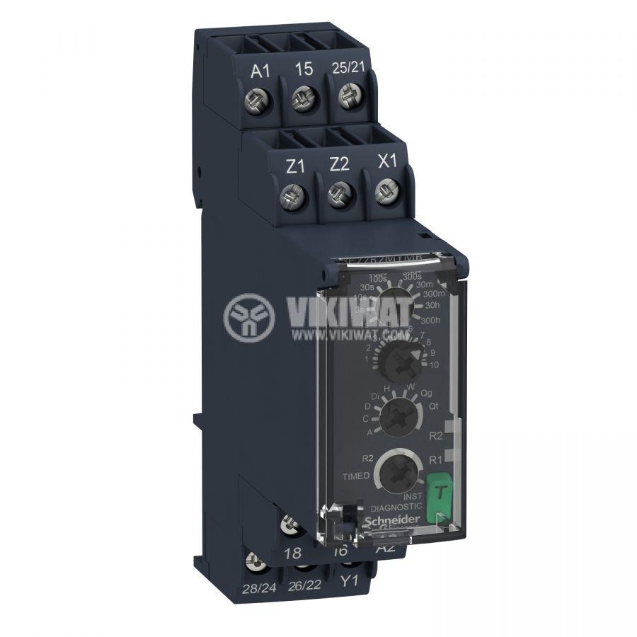 Реле за време RE22R2MYMR вкл. и изкл. с закъснение 24/24-240VDC/VAC 0.05s-300h 2xNO+2xNC 8A/250V