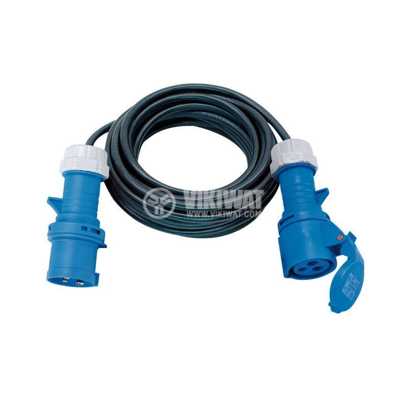 Удължител с щепсел и контакт CEE 230V/16A, 10m, 3x1.5mm2, IP44, черен/син, Brennenstuhl, 1167650110