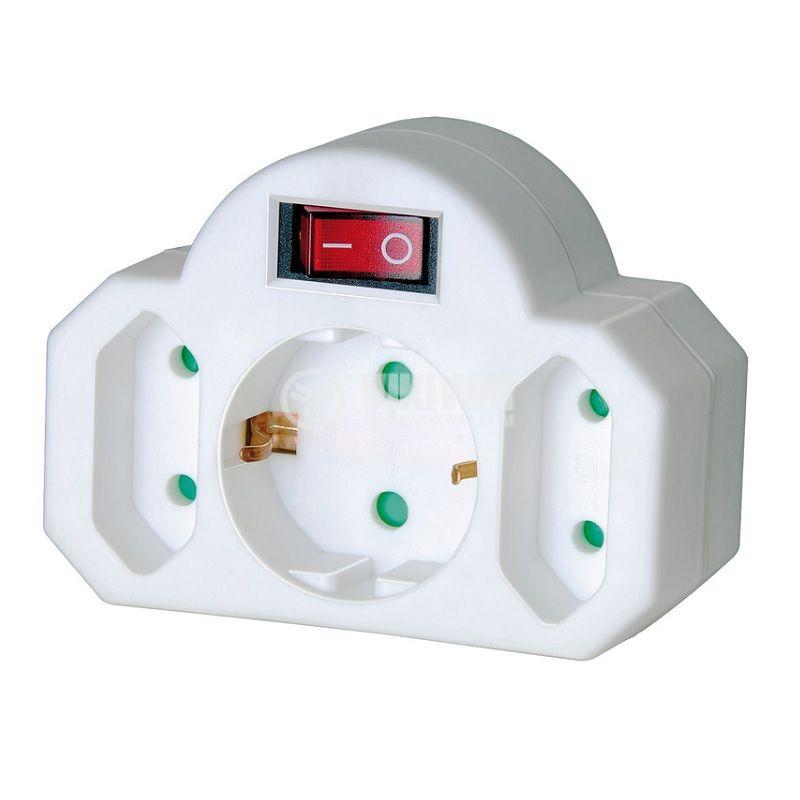 Разклонител за контакт 1 шуко - 1 шуко + 2 евро щепсела + ключ, 16A, 250VAC, бял, Brennenstuhl, 1508100