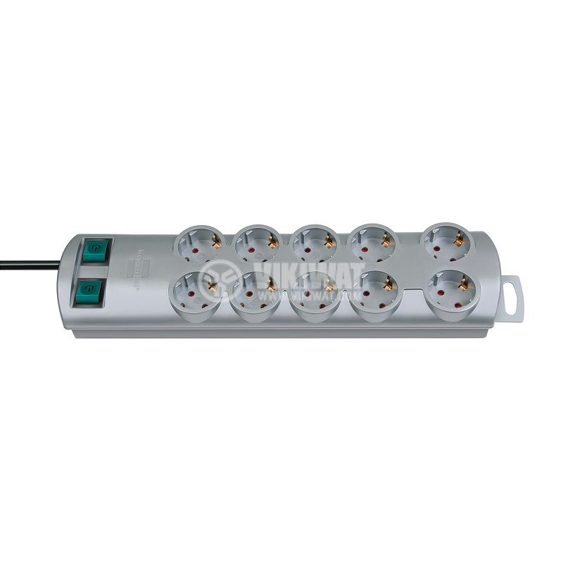 Разклонител 10-ка + 2 ключа, 2m кабел, сребрист, двоен, Primera-Line, Brennenstuhl, 1153390120 - 1