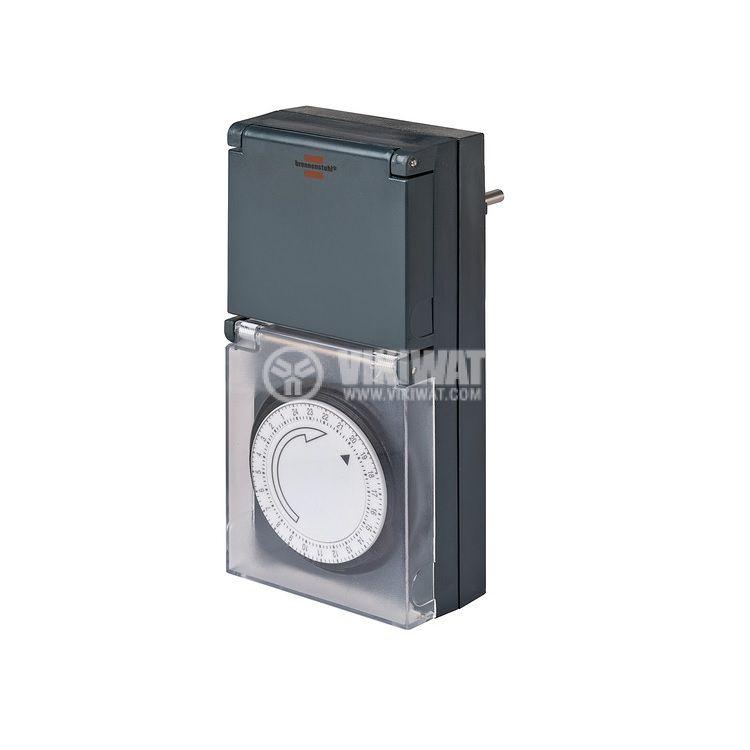 Таймер механичен MZ 44 DE, IP44, Brennenstuhl, 220VAC, 16A, 3500W, 24-часов