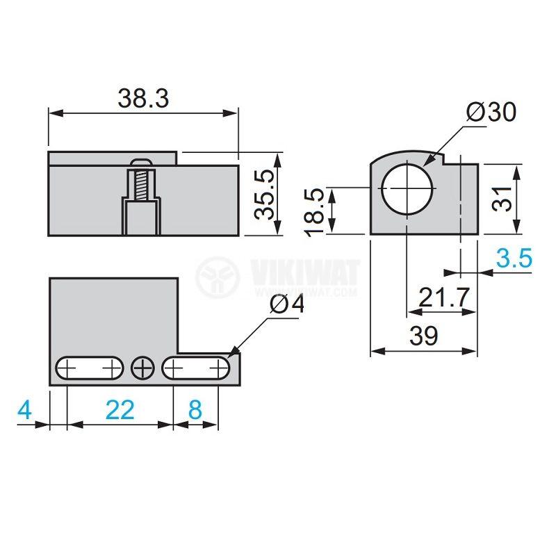 Държач XSZB130, за монтаж на цилиндрични сензори с резба M30 - 4