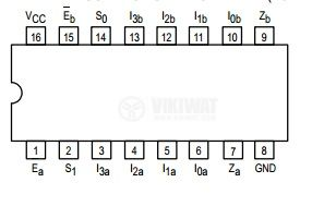 Интегрална схема 74LS153, TTL серия LS, DUAL 4-INPUT MULTIPLEXER, DIP16 - 2