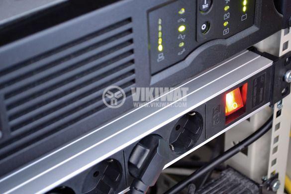 "Разклонител 9-ка за 19"" шкаф, 2m кабел, сребрист/черен, Premium-Line, Brennenstuhl, 1390007009 - 2"