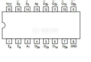 Интегрална схема 74LS155, TTL серия LS, DUAL 1-OF-4 DECODER/ DEMULTIPLEXER, DIP16 - 2