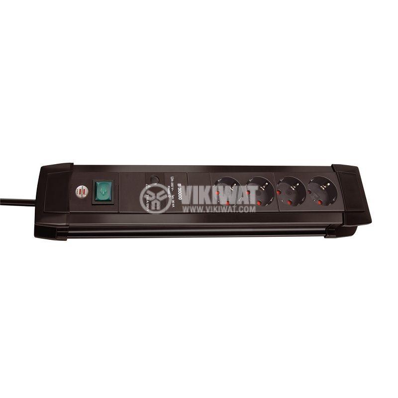 Разклонител със защита 30.000A, 4-ка, 1.8m кабел, черен, Premium-Line, Brennenstuhl, 1155000374 - 1