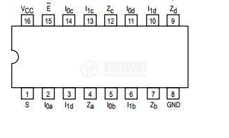 Интегрална схема 74LS157, TTL серия LS, QUAD 2-INPUT MULTIPLEXER, DIP16 - 2
