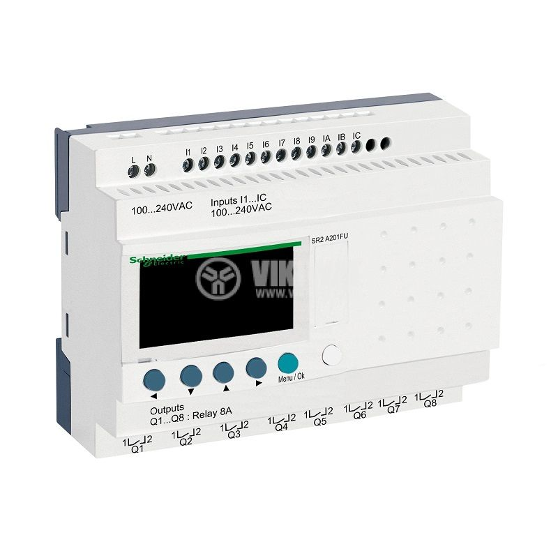 Programmable relay SR2A201FU, 100~240VAC, 12 inputs, 8 outputs, DIN