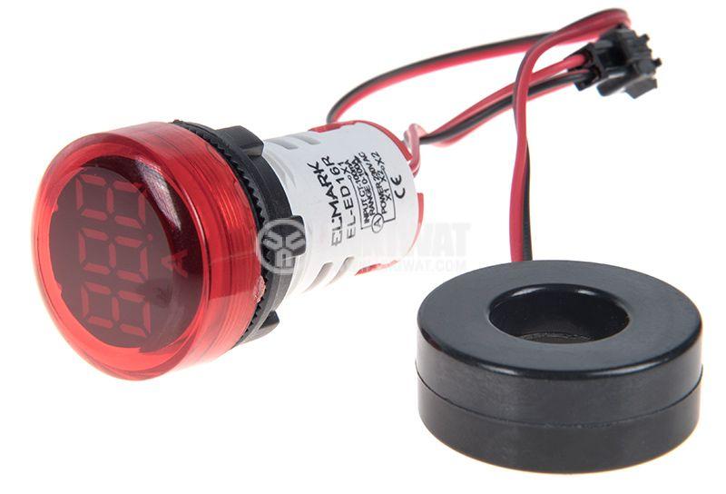 Дигитален амперметър 0~100A, 230VAC, EL-ED16R, ф22mm - 1