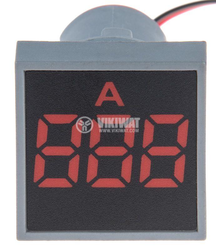 Дигитален амперметър 0~100A, 230VAC, EL-ED16S, ф22mm, квадратен - 1