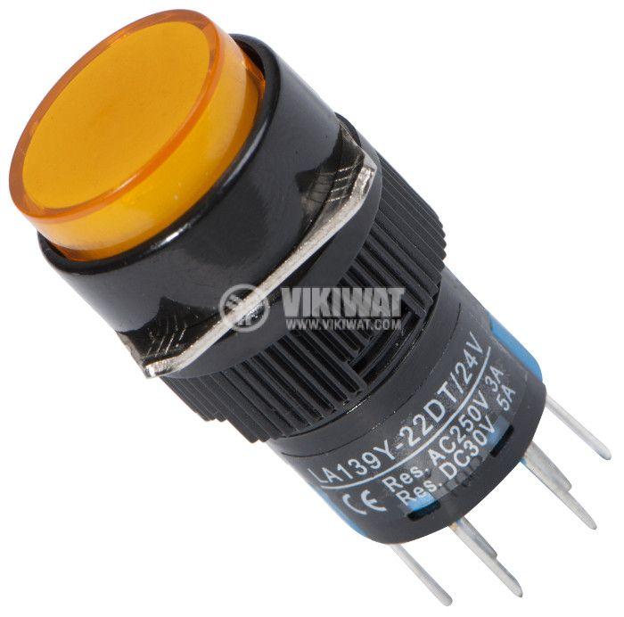 Button Switch type RAFI, LA139Y-22DT, 24VDC, DPDT - 2NO +2 NC - 1