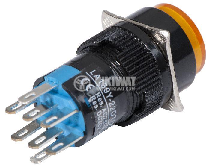 Button Switch type RAFI, LA139Y-22DT, 24VDC, DPDT - 2NO +2 NC - 2