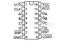 Интегрална схема 74LS169, TTL серия LS, SYNCHRONOUS 4-BIT UP/DOWN BINARY COUNTERS, DIP16 - 2