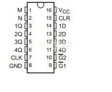 Интегрална схема 74LS173, TTL серия LS, 4-BIT D-TYPE REGISTERS WITH 3-STATE OUTPUTS, DIP16 - 2