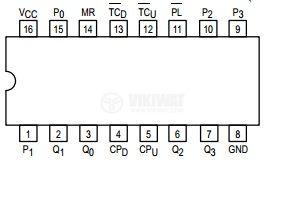 Интегрална схема 74LS192, TTL серия LS, PRESETTABLE BCD/DECADE UP/DOWN COUNTER PRESETTABLE 4-BIT BINARY UP/DOWN COUNTER, DIP16 - 2