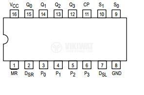 Интегрална схема 74LS194, TTL серия LS, 4-BIT BIDIRECTIONAL UNIVERSAL SHIFT REGISTER, DIP16 - 2