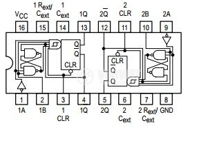 Интегрална схема 74LS221, TTL серия LS, DUAL MONOSTABLE MULTIVIBRATORS WITH SCHMITT-TRIGGER INPUTS, DIP16 - 2
