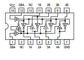 Интегрална схема 74LS242, TTL серия LS, QUAD BUS TRANSCEIVER, DIP14 - 2