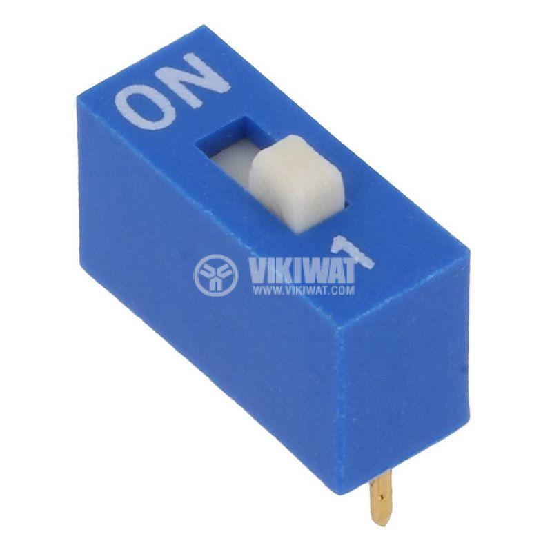 Микропревключвател DIP плъзгач, 0.05A/12VDC, 10x4x10mm, ON-OFF - 1