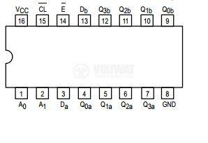 Интегрална схема 74LS256, TTL серия LS, DUAL 4-BIT ADDRESSABLE LATCH, DIP16 - 2