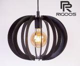 Дървен пендел, лазерно изрязан, E27, 230VAC, 1m, черен, L002BL, RIGOOS