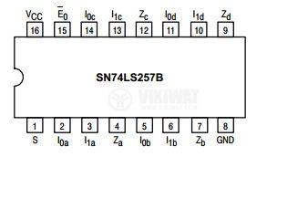 Интегрална схема 74LS257, TTL серия LS, Quad 2-Input Multiplexer with 3-State Outputs, DIP16 - 2