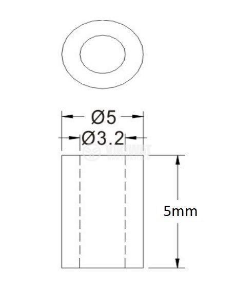 Втулка полиамид 5mm ф5mm - 2