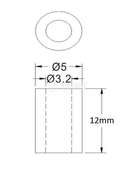 Втулка полиамид 12mm ф5mm - 2
